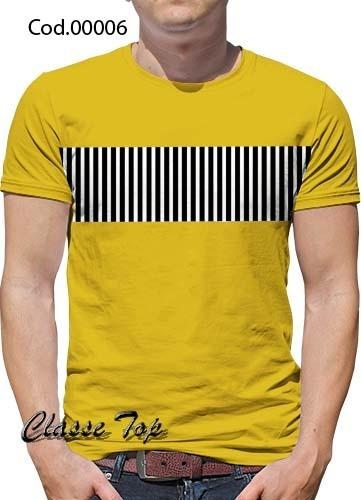 Camiseta Masculino C/ Listras No Meio Do Peito Kit C/4