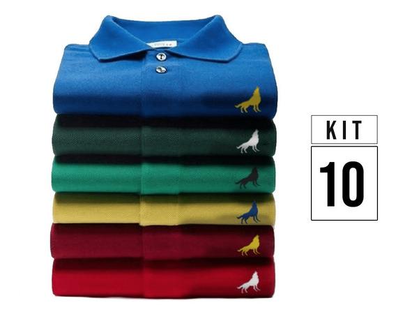 Kit 10 Camisas Polo Em Tecido Piquet Originais Vira Lata