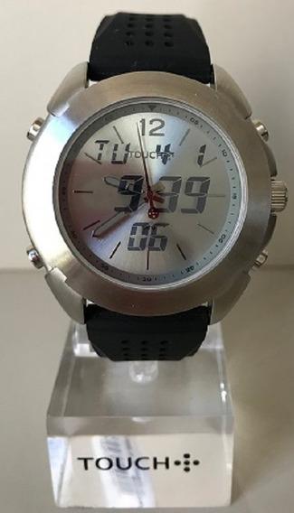 Relógio Touch Prata Digital E Analógico Pulseira De Silicone