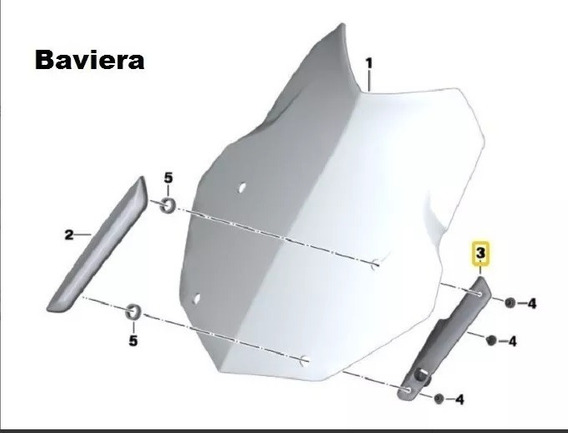 Suporte Esquerdo Do Para Brisas Moto Bmw R1200 Gs