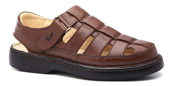 Sandália Masculina 321 Em Couro Floater Tabaco Doctor Shoes