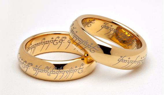 Par Alianças - Senhor Dos Anéis - Tungstênio Banhado Ouro