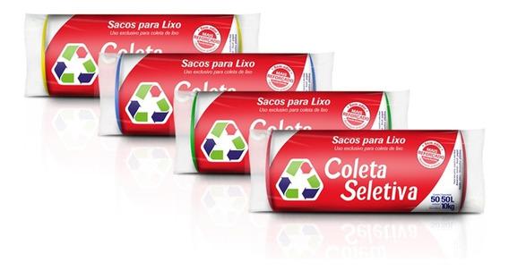 Sacos De Lixo Coleta Seletiva 50lts C/200 Sacos