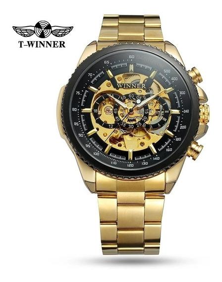 Relógio Masculino Automático Winner Esqueleto Aço Inoxidável