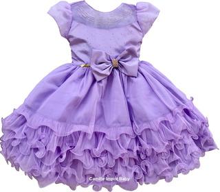 Vestido De Festa Infantil Luxo Princesa Sofia Com Coroa