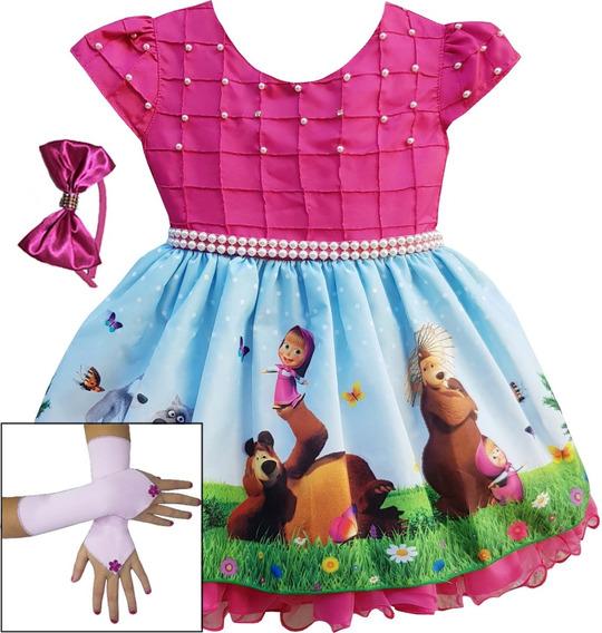 Vestido Infantil Masha E Urso Luxo Frete Gratis