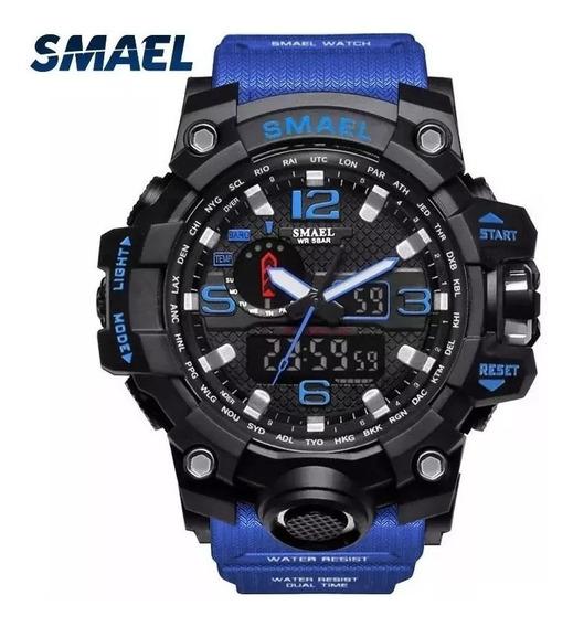 Relógio Smael 1545 Militar Shock Azul Original Com Nf-e