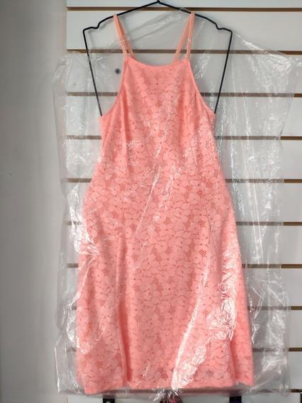 Vestido Espalda Cruzada Con Short Color Salmón