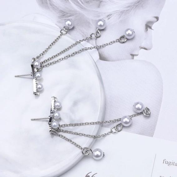 Aretes Largos Color Plata Corea Con Perlas Para Dama
