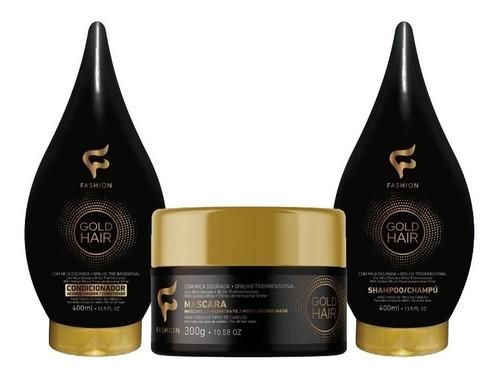 Imagem 1 de 10 de Gold Hair Fashion Atacado 6 Shampoo 6 Condicionado 6 Máscara