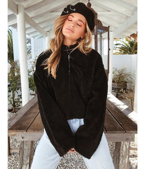 Moda Feminina Cropped Fofo Hoodies Fleeces Gola Alta Zipper