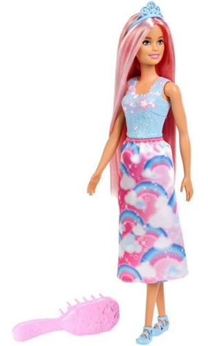 Imagen 1 de 2 de Barbie Princesa Mattel Peinados Mágicos Fxr94