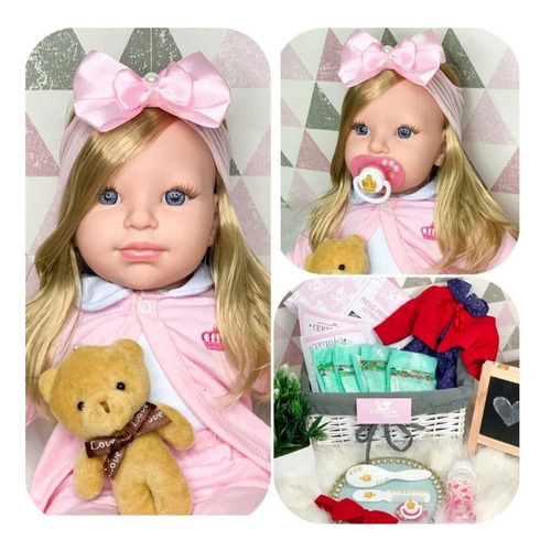 Boneca Bebe Reborn Recém Nascida Rosa Com Vários Acessórios