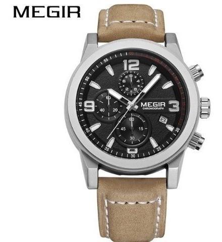 Relógio Masculino Megir 2026 Esporte Pulseira De Couro