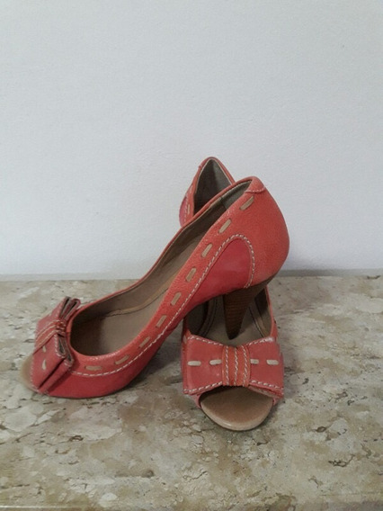 Sapato Peep Toe Coral, Kaz