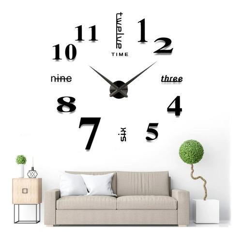 Reloj De Pared Con Diseño 3d A La Moda (negro)