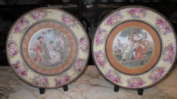 Par De Raros Platos De Porcelana Viejo Viena Para Colgar