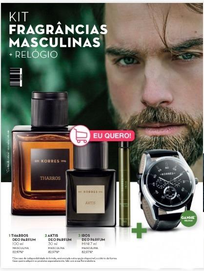 Kit Perfume Masculino Korres Tharros + Aktis +iros + Brinde