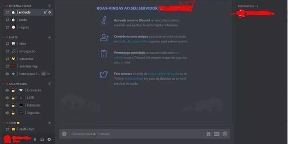 Servidor Configurado Para Discord Personalizado Com Bots Adm