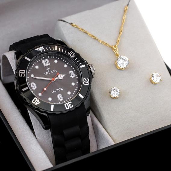 Relógio Feminino Nowa De Borracha Preto Nw0521k Com Kit Colar E Brinco