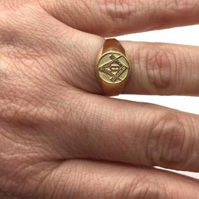 Anel Dedinho Ouro 18k Oval Maçon Maçonaria G Triângulo