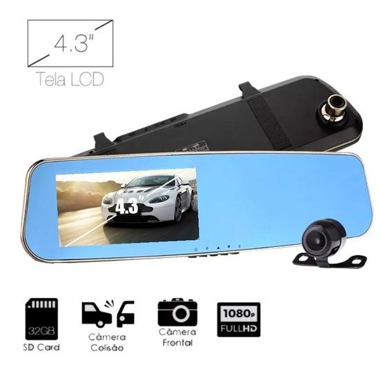 Kit Espelho Retrovisor Grava Em Cartão Sd Encaixe Sobrepor Com Camera Dianteira Full Hd Frontal + Camera De Re Traseira