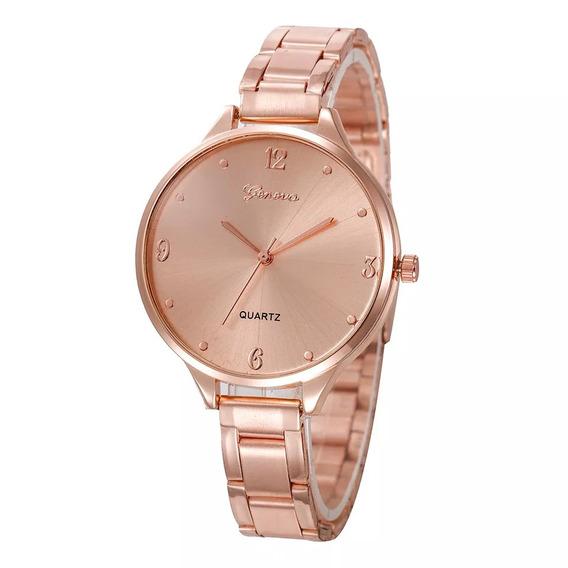 Relógio Geneva Feminino Rose Prateado Luxuoso