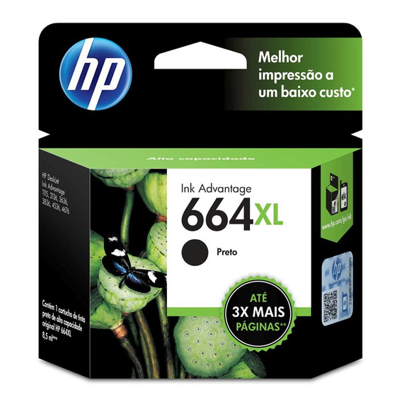 Hp Cartucho De Tinta Hp 664xl F6v31ab 8,5 Ml Preto