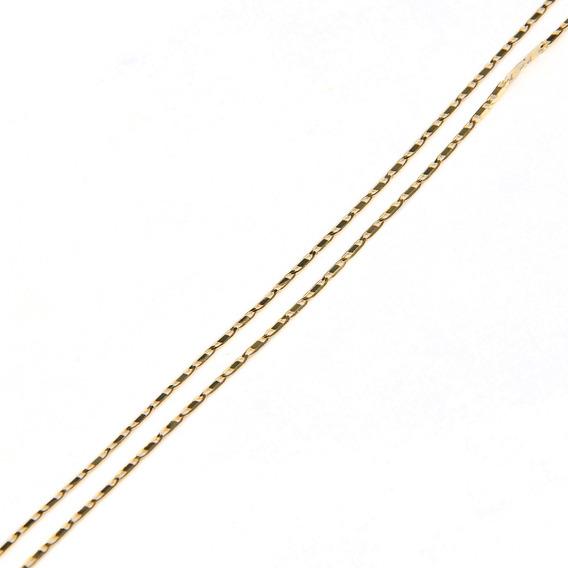 Corrente Em Ouro 18k Piastrini Lisa 45cm
