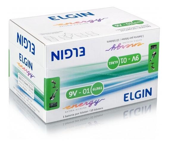 Baterias 9v Alcalina Caixa C/ 10 Un. - Elgin Original