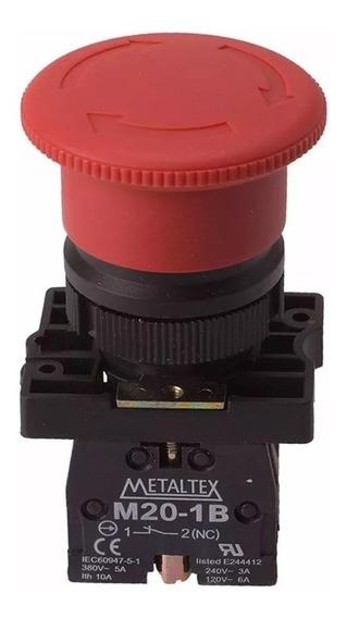 Botao Emergencia Cogumelo Vermelho 22mm