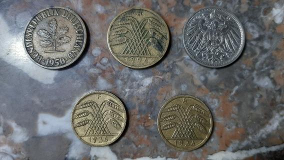 Lote De 5 Monedas Alemanas Antiguas