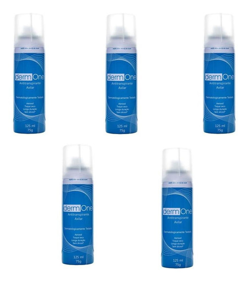 Kit C/ 5 Desodorante Antitranspirante Aerosol Derm One 125ml