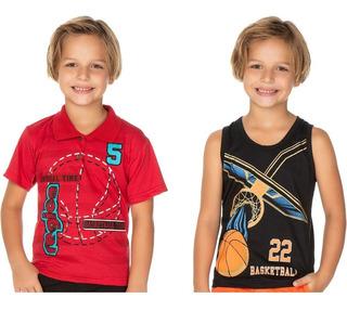 Roupa Infantil Kit 2 Camisetas Isensee Basketball Verão