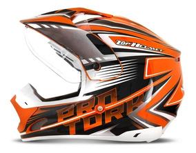 Capacete Motocross Prata/branco Th1 Adventure Pro Tork