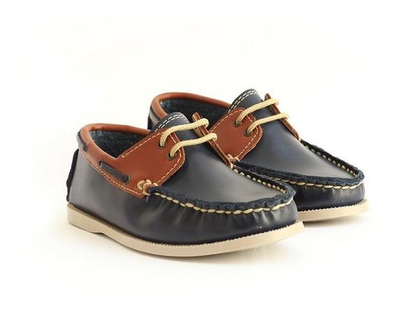 Zapato Casual Mocasín Para Niño Tipo Marinero Azul Con Miel