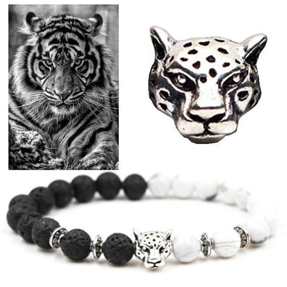 Pulseira Chakras Pedra Lava Vulcão Howlita Tigre Black White