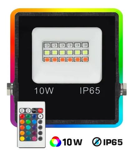 Reflector Led 10w Rgb 16 Colores Control Remoto Exterior 900l