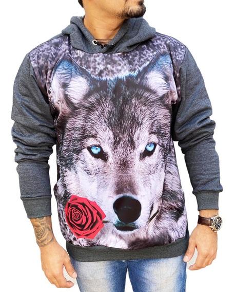Blusa Moletom 3d Desenho Lobo Inverno Com Touca Bolso Cang