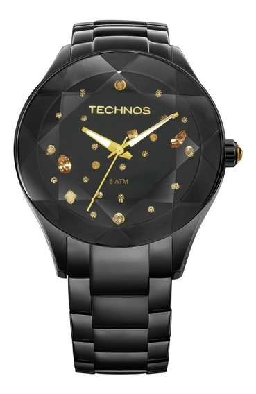Relógio Femininotechnos Elegance Crystal 2039au/1p Aço Preto