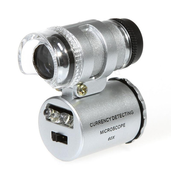 Kit 10 Mini Microscópio 60x Bolso Led Lupa