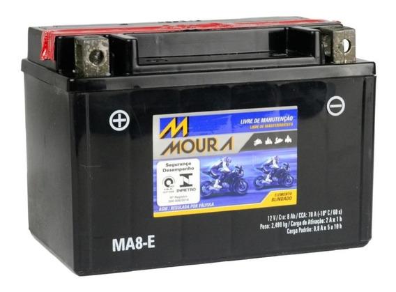 Bateria Moto 8ah Moura Nova Frete Grátis Honda Ma8-e / Ytx9