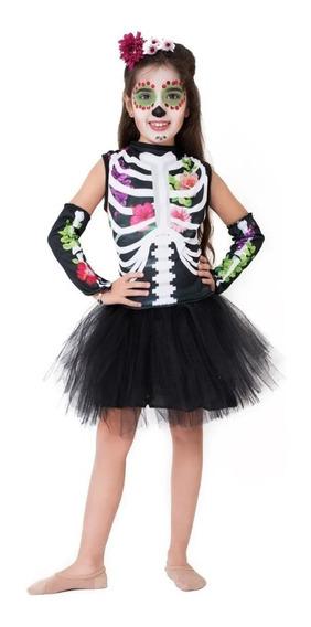 Disfraz Halloween Calavera Completo! Nena Variedad