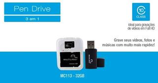 Cartão De Memória 32gb Com 02 Und Multilaser + Adaptador