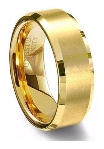 Aliança Casamento Tungstênio 8mm Banhada Ouro 18k Unidade