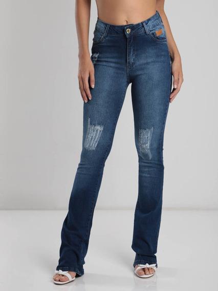 Calça Jeans Flare Max Denim Destroyed