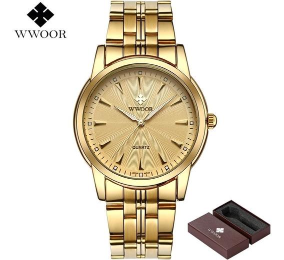 Relógio Masculino De Luxo Com Caixa Original Dourado