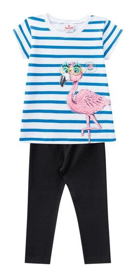 Conjunto Infantil Blusa E Calça Legging Flamingo - Brandili