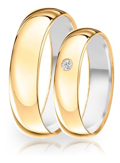 Alianças De Namoro Prata 950 Envelopada De Ouro 18k 5mm