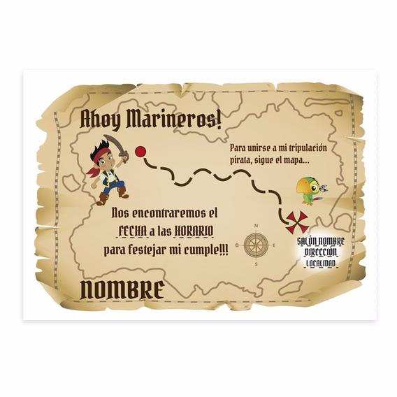 Tarjeta De Invitacion Jake Y Los Piratas Souvenirs